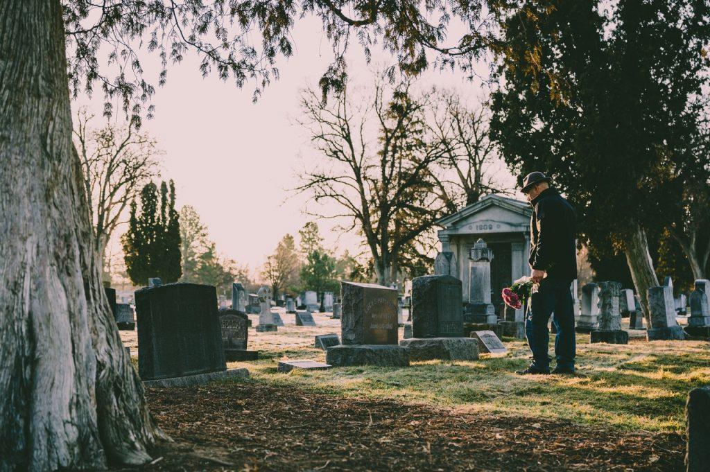 Man attending a funeral